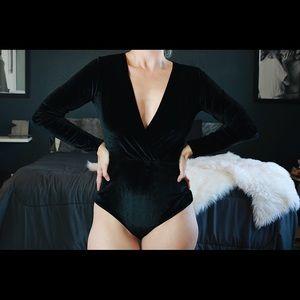 Bodysuit With Velvety Appearance